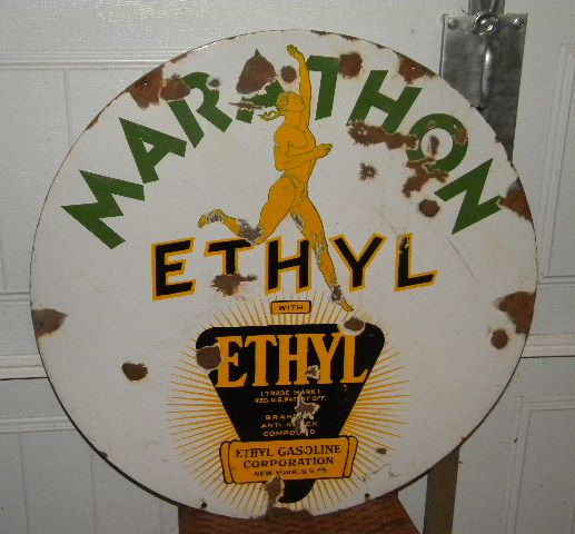 $OLD Marathon Ethyl 30 Inch Double Sided Porcelain Sign