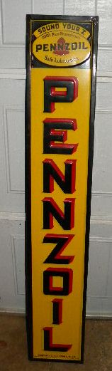 $OLD Pennzoil Vertical Emb Tin Sign