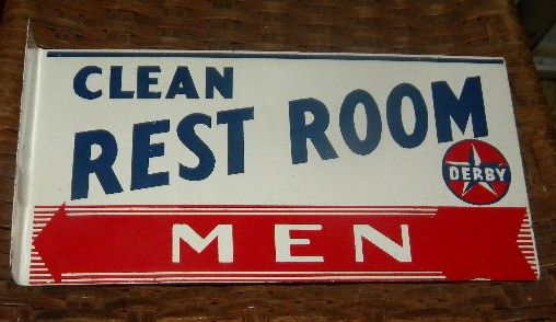 $OLD Derby Men's restroom Flange Sign Double Sided