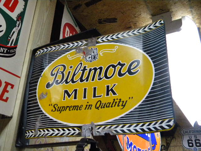 $OLD Biltmore Dairy Farms Spinner Sign w/ Bracket Asheville NC