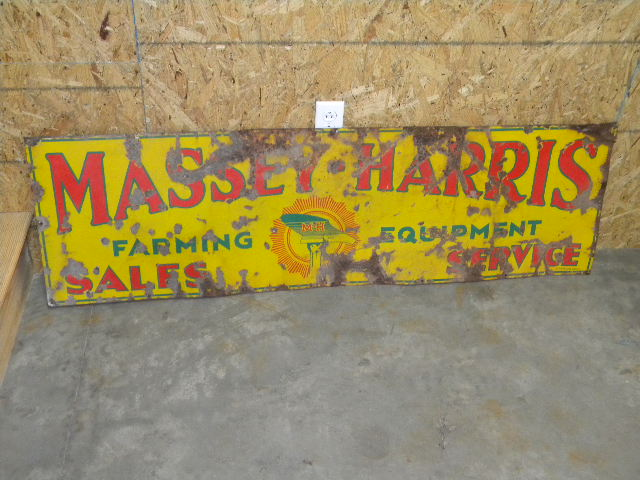 $OLD Massey Harris SSP Porcelain Sign w/ Plow/Hand Graphics