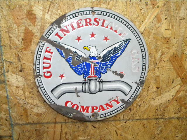 $OLD Gulf Interstate Gas Porcelain Sign w/ Eagle Graphics