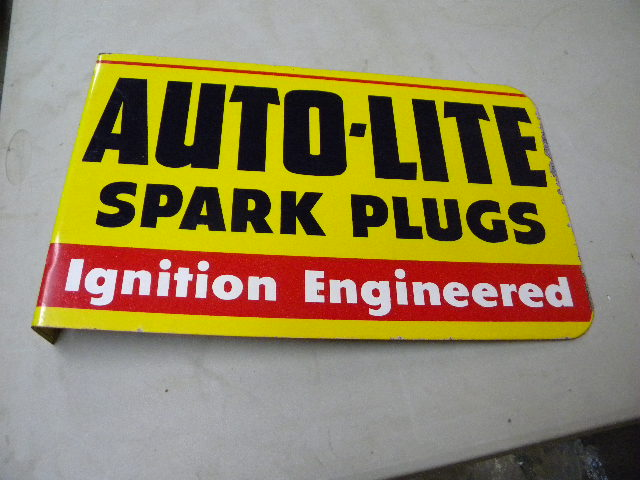 $OLD Autolite Tin Spark Plug Flange sign