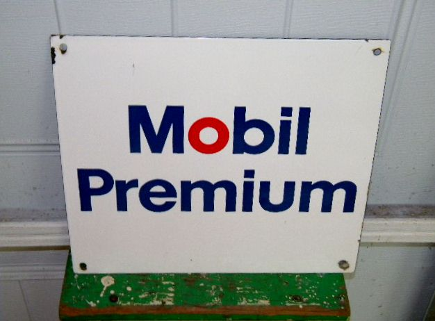 $OLD Mobil Premium Porcelain PPP Gas Pump Sign