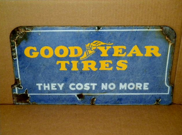 $OLD DBL Sided Porcelain Goodyear Sign