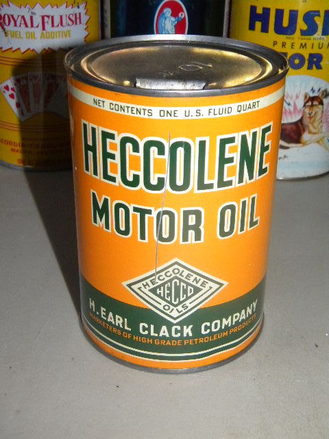 $OLD H. Earl Clack Heccolene husky Motor Oil Quart
