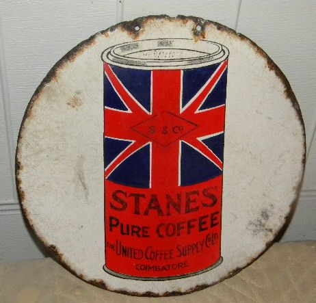$OLD  Stanes Coffee & Tea DBL Sided Porcelain Sign