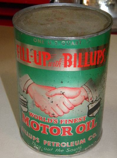 $OLD Billups Full Metal Quart with Hands Graphic Fill up with Billups