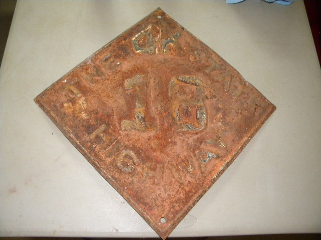"Old Oklahoma State Fully Embossed ""The OK STATE"" #18 Highway Sign"