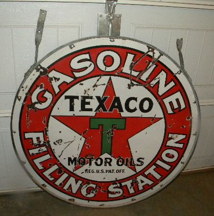 $OLD Texaco Filling Station Porcelain Sign w/ Mounting Ring