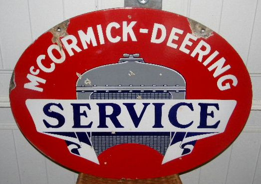 $SOLD McCormick Deering Double Sided Porcelain Service Tractor Sign