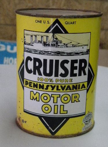 $OLD Cruiser Pennsylvania Motor Oil Picture Quart can