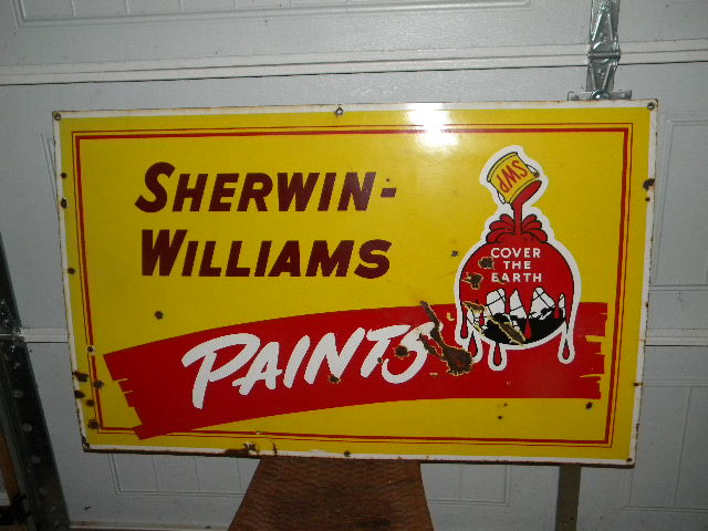 $OLD SWP Sherwin Williams Paints Porcelain Sign