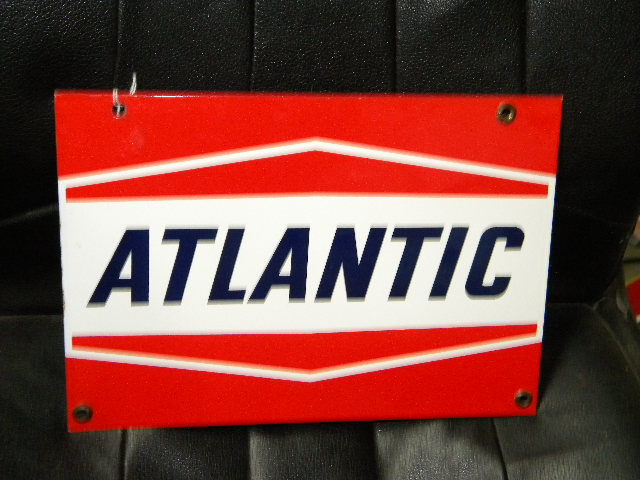 $OLD Nice Original Atlantic Porcelain Gas Pump Sign