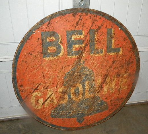 $OLD Bell Gasoline DBL Sided Tin Sign
