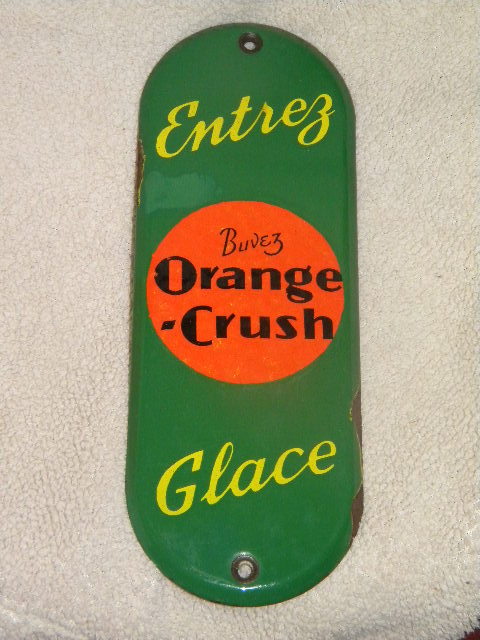 $OLD Orange Crush Porcelain Door Push