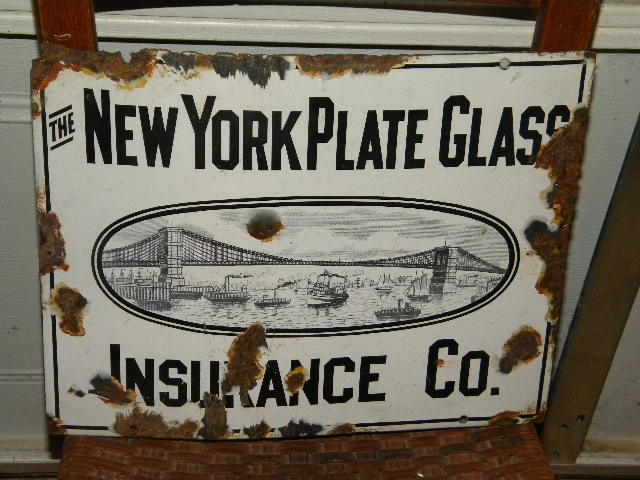 $OLD NY Plate Glass Porcelain Sign w/ Killer Graphics