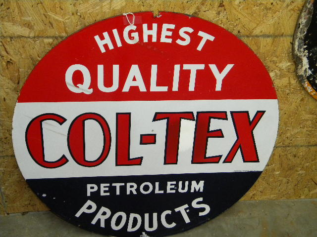 $OLD Col-Tex DSP Porcelain Sign 29.5 inch Original