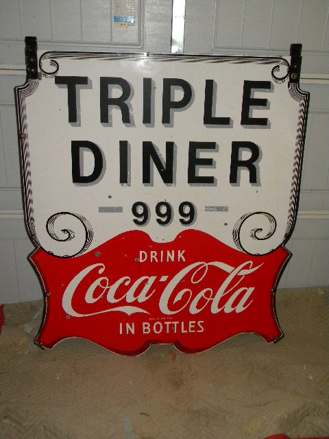 $OLD Coca Cola Large Colonial Dbl Sided Porcelain Sign NICE