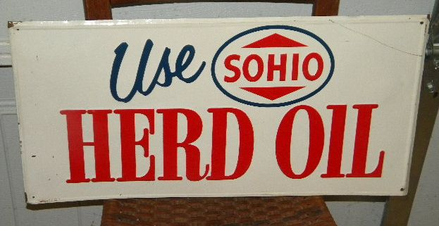 $OLD Old Sohio Herd Oil Embossed Tin Sign