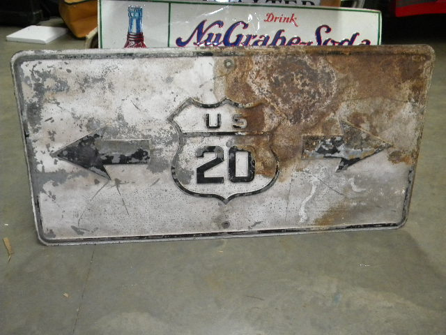 $OLD Old Fully Embossed US 20 Highway Sign