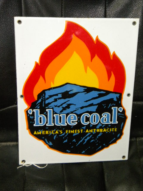$OLD Blue Coal Porcelain Sign 6 Color