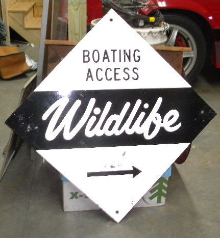 $OLD NC Wildlife Boating Double Sided Tin Sign
