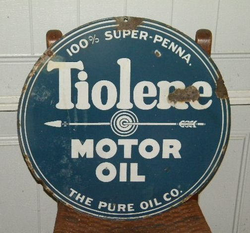Pure Tiolene Double Sided Porcelain Sign $OLD