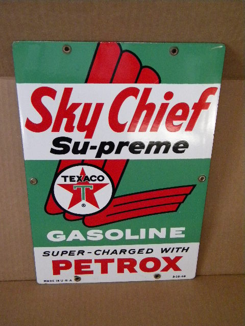$OLD Sky Chief w/ Petrox 15x10 inch Pump Sign