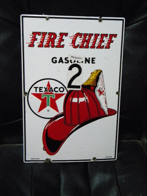 $OLD Fire Chief Porcelain Gas Pump Sign