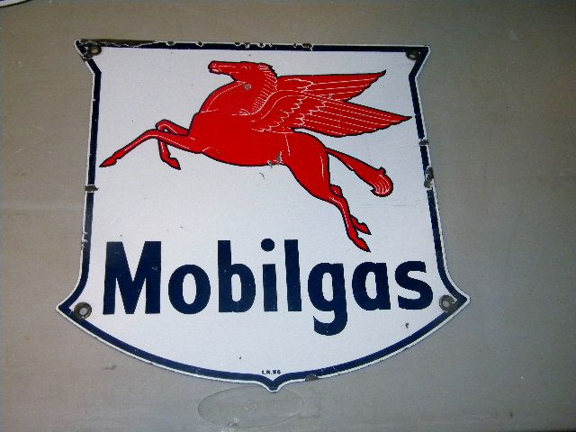$OLD Mobil Pump Sign Original
