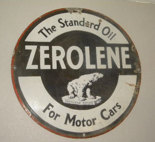 Zerolene 24 Inch Single Sided Porcealin Sign ORIGINAL $old