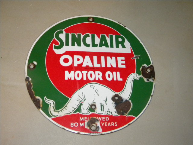 $OLD Sinclair Opaline Lubester Porcelain Sign Green