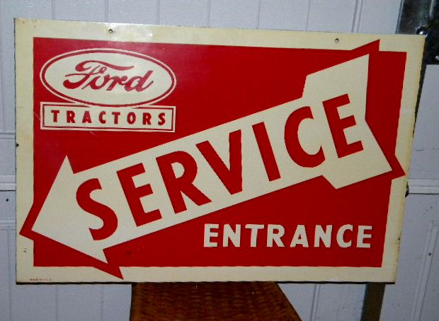 $OLD Ford Tractors Service Double Sided Tin Sign