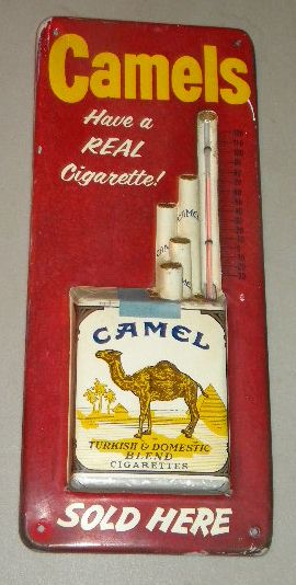 $OLD Camel Cigarettes Embossed Tin Thermometer