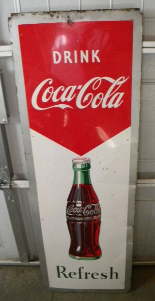 $OLD Coca Cola Vertical Tin Sign 1951 Robertson