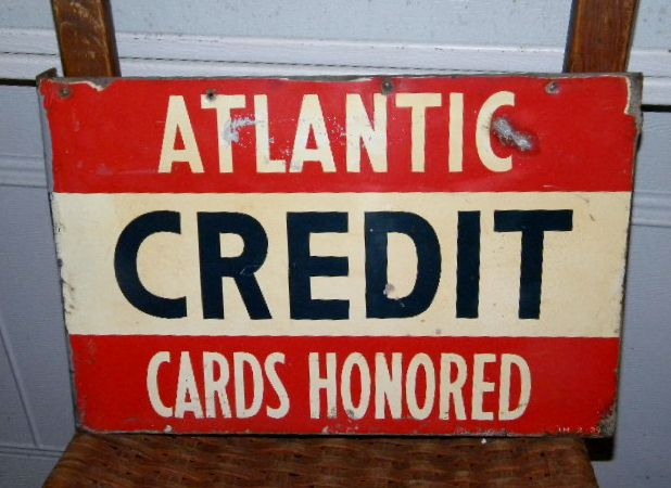 Atlantic Credit Cards Tin Flange Sign $OLD