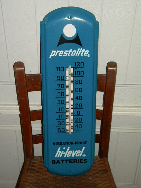 Prestolite Tin Batteries Thermometer $OLD