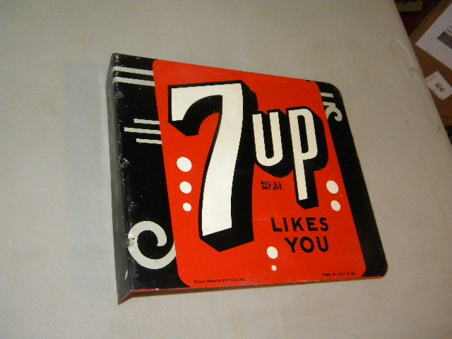 $OLD 7Up Art Deco Flange Sign