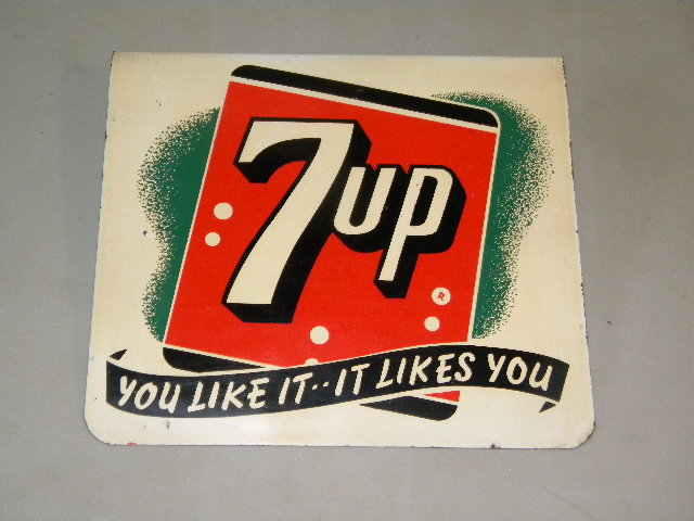 $OLD 7Up Ceiling Mount Tin Flange Sign