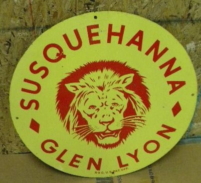 $OLD Glen Lyon Coal Graphic tin Sign 1951 w/ Lion Head