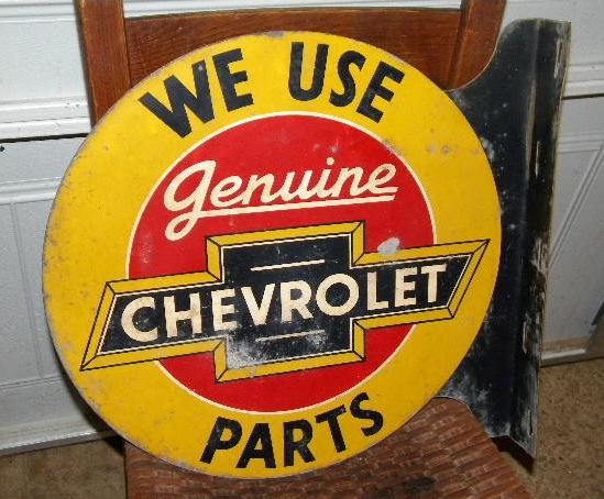 $OLD Chevrolet Genuine Parts Tin Flange Sign Original