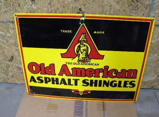 $OLD Old American Asphault Porcelain Sign INDIAN GRAPHICS