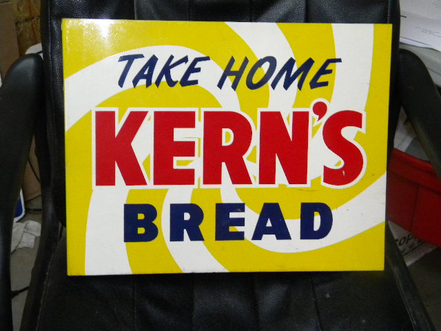 $OLD Kerns Bread Double Sided Tin Flange Sign