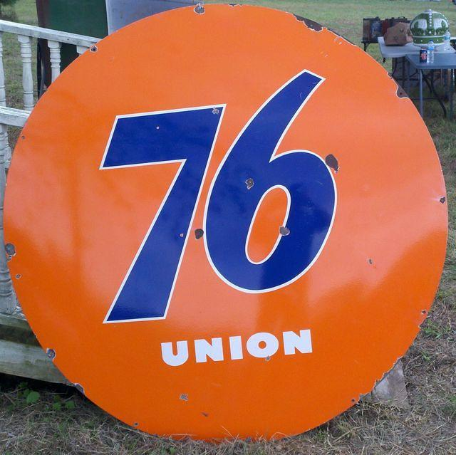 $OLD Union 76 Gasoline Single Sided Porcelain Sign 5 Ft