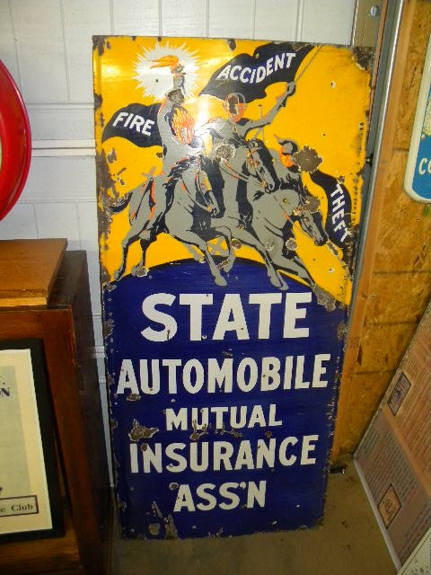 $OLD State Automobile Insurance Lighthouse Porcelain Sign