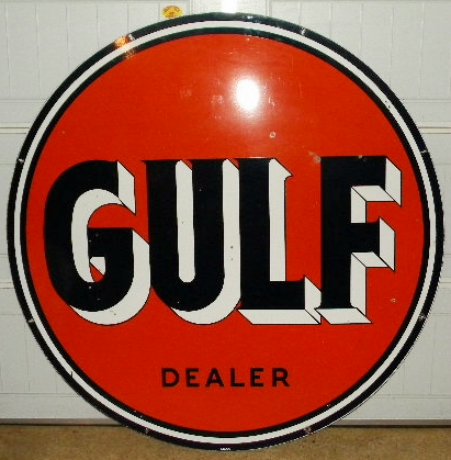 SOLD: Gulf Porcelain IR-55 Sign