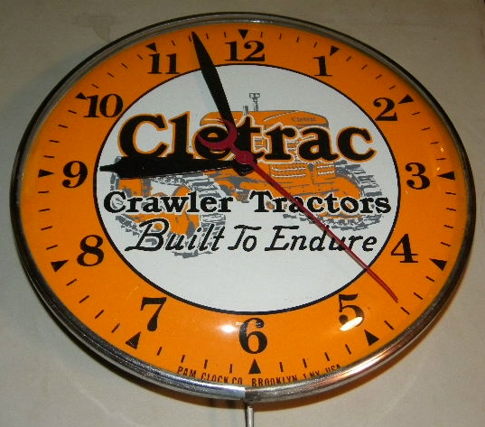 SOLD: Cletrac Clock w/ Crawler Tractor Graphics