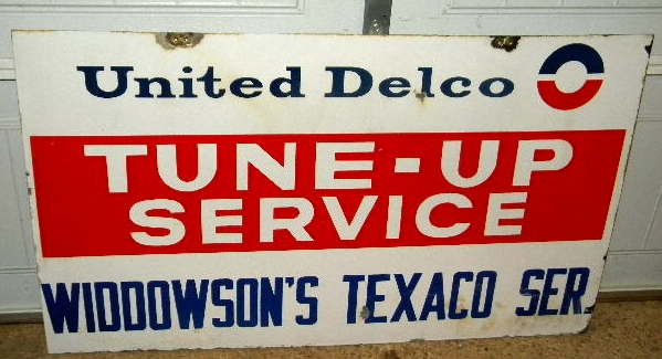$OLD United Delco Tune Up / Texaco Service Porcelain Sign