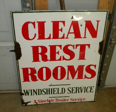 $OLD Old Sinclair Double Sided Porcelain Clean Rest Rooms Sign